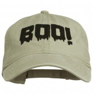 Halloween Boo Sign Embroidered Washed Cap - Stone