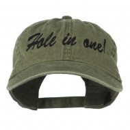 Hole in One Embroidered Washed Cap - Olive Green