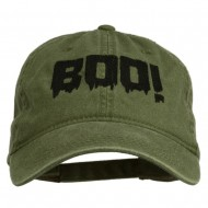 Halloween Boo Sign Embroidered Washed Cap - Olive Green