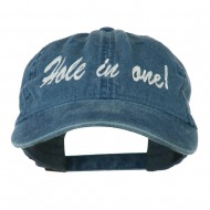 Hole in One Embroidered Washed Cap - Navy