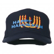 Happy Hanukkah Candles Embroidered Cap - Navy