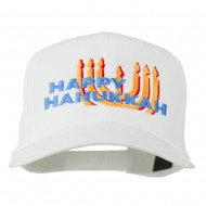 Happy Hanukkah Candles Embroidered Cap - White