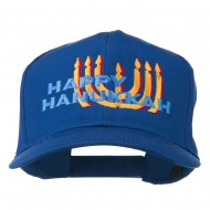 Happy Hanukkah Candles Embroidered Cap - Royal