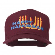Happy Hanukkah Candles Embroidered Cap - Maroon