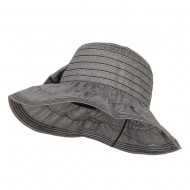 Women's Ribbon Accent Crushable Hat - Black