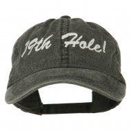 Golf 19th Hole Embroidered Washed Cap - Black
