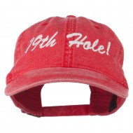 Golf 19th Hole Embroidered Washed Cap - Red
