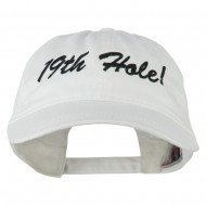 Golf 19th Hole Embroidered Washed Cap - White