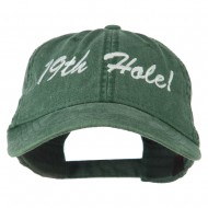 Golf 19th Hole Embroidered Washed Cap - Dark Green