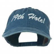 Golf 19th Hole Embroidered Washed Cap - Navy
