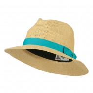 Panama Hat With Color Band - Turquoise