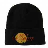 Happy Halloween Moon and Bats Embroidered Long Beanie - Black