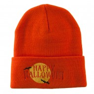 Happy Halloween Moon and Bats Embroidered Long Beanie - Orange