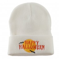 Happy Halloween Moon and Bats Embroidered Long Beanie - White