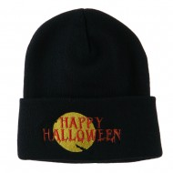 Happy Halloween Moon and Bats Embroidered Long Beanie - Navy