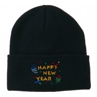 Happy New Year Embroidered Beanie - Navy