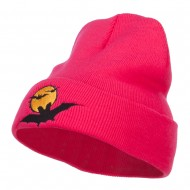 Moon Bats Halloween Embroidered Long Beanie - Magenta
