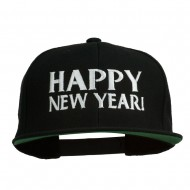 Happy New Year Embroidered Flat Bill Cap - Black