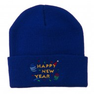 Happy New Year Embroidered Beanie - Royal