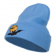 Moon Bats Halloween Embroidered Long Beanie - Sky Blue