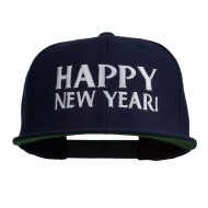 Happy New Year Embroidered Flat Bill Cap - Navy
