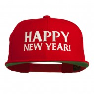 Happy New Year Embroidered Flat Bill Cap - Red
