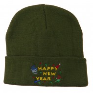 Happy New Year Embroidered Beanie - Olive