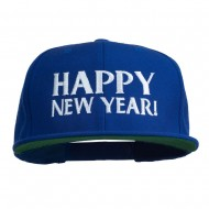 Happy New Year Embroidered Flat Bill Cap - Royal