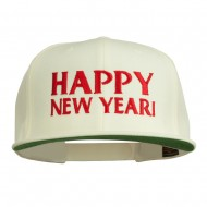 Happy New Year Embroidered Flat Bill Cap - Natural