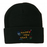 Happy New Year Embroidered Beanie - Black
