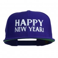 Happy New Year Embroidered Flat Bill Cap - Purple