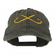 Fishing Crossed Fishhooks Embroidered Washed Cap - Black