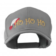 Christmas Ho Ho Ho with Hat Embroidered Cap - Grey