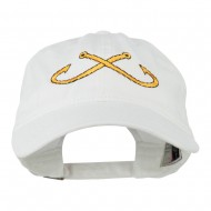 Fishing Crossed Fishhooks Embroidered Washed Cap - White