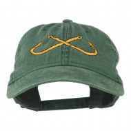 Fishing Crossed Fishhooks Embroidered Washed Cap - Dark Green