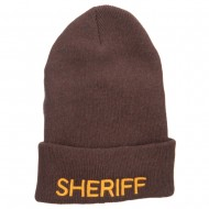 Sheriff Embroidered Oversize Cotton Long Beanie - Brown