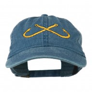 Fishing Crossed Fishhooks Embroidered Washed Cap - Navy