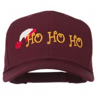 Christmas Ho Ho Ho with Hat Embroidered Cap - Maroon