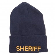Sheriff Embroidered Oversize Cotton Long Beanie - Navy