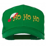 Christmas Ho Ho Ho with Hat Embroidered Cap - Kelly