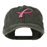 Hot Pink Breast Cancer Logo Embroidered Washed Cap - Black