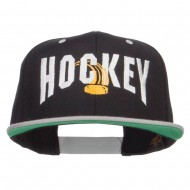 Hockey With Puck Embroidered Snapback Cap - Black Silver