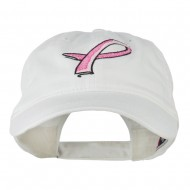 Hot Pink Breast Cancer Logo Embroidered Washed Cap - White