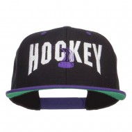 Hockey With Puck Embroidered Snapback Cap - Black Purple