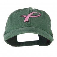 Hot Pink Breast Cancer Logo Embroidered Washed Cap - Dark Green