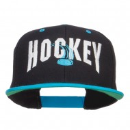 Hockey With Puck Embroidered Snapback Cap - Black Teal