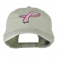 Hot Pink Breast Cancer Logo Embroidered Washed Cap - Stone