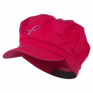 Hot Pink Ribbon Breast Cancer Embroidered Newsboy Cap - Fuchsia