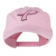 Hot Pink Breast Cancer Logo Embroidered Washed Cap - Pink