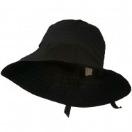Women's Bucket Shaped Hat with Ribbon - Black